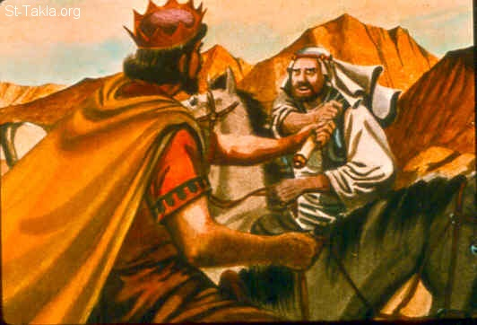 "St-Takla.org Image: Now it was told Saul, saying, ""Take note, David is at Naioth in Ramah!"" Then Saul sent messengers to take David. And when they saw the group of prophets prophesying, and Samuel standing as leader over them, the Spirit of God came upon the messengers of Saul, and they also prophesied. And when Saul was told, he sent other messengers, and they prophesied likewise. Then Saul sent messengers again the third time, and they prophesied also. (1 Samuel 19:19-21) صورة في موقع الأنبا تكلا: شاول يرسلا رسلا لأخذ داود (صموئيل الأول 19: 19-21)"