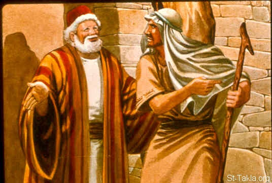 "St-Takla.org Image: Now David came to Nob, to Ahimelech the priest. And Ahimelech was afraid when he met David, and said to him, ""Why are you alone, and no one is with you?"" So David said to Ahimelech the priest, ""The king has ordered me on some business, and said to me, 'Do not let anyone know anything about the business on which I send you, or what I have commanded you.' And I have directed my young men to such and such a place. (1 Samuel 21:1, 2) صورة في موقع الأنبا تكلا: داود يزور أخيمالك الكاهن (صموئيل الأول 21: 1، 2)"