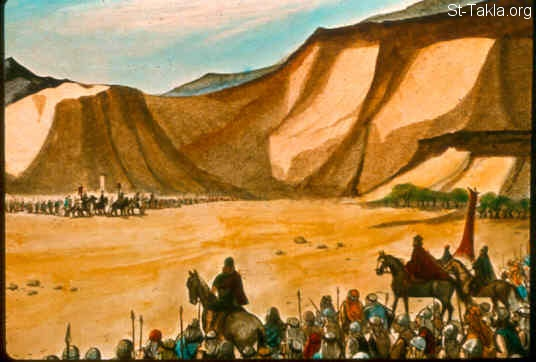 St-Takla.org Image: Then the Philistines gathered together all their armies at Aphek, and the Israelites encamped by a fountain which is in Jezreel. And the lords of the Philistines passed in review by hundreds and by thousands, but David and his men passed in review at the rear with Achish. (1 Samuel 29:1, 2) صورة في موقع الأنبا تكلا: الفلسطينيون يجمعون جيوشهم للحرب (صموئيل الأول 29: 1، 2)