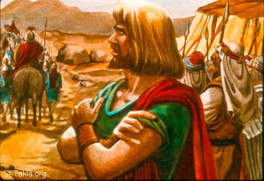 "St-Takla.org Image: So David said to Achish, ""But what have I done? And to this day what have you found in your servant as long as I have been with you, that I may not go and fight against the enemies of my lord the king?"" Then Achish answered and said to David, ""I know that you are as good in my sight as an angel of God; nevertheless the princes of the Philistines have said, 'He shall not go up with us to the battle.' ""Now therefore, rise early in the morning with your master's servants who have come with you. And as soon as you are up early in the morning and have light, depart."" So David and his men rose early to depart in the morning, to return to the land of the Philistines. And the Philistines went up to Jezreel. (1 Samuel 29:8-11) صورة في موقع الأنبا تكلا: داود يبتعد عن جيوش الفلسطينيين (صموئيل الأول 29: 8-11)"