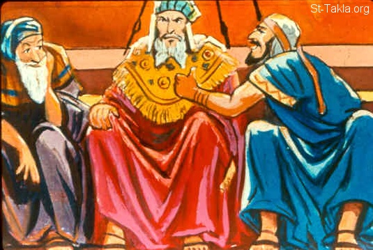 "St-Takla.org Image: Sanballat the Horonite, Tobiah the Ammonite official, and Geshem the Arab laughing at Nehemiah and the people (Nehemiah 2:19-20) صورة في موقع الأنبا تكلا: ""سنبلط"" و""طوبيا"" و""جشم"" يهزأون بنحميا والشعب (نحميا 2: 19-20)"