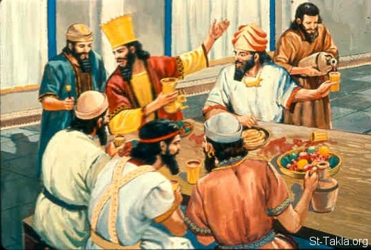 St-Takla.org Image: King Ahasuerus making a feast (Esther 1:1-9) ���� �� ���� ������ ����: ����� ������� ���� ����� (����� 1: 1-9)