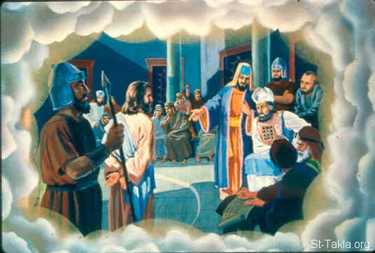 St-Takla.org Image: Perjury, false witnesses during the trials of Jesus (Psalm 35:11) ���� �� ���� ������ ����: ������ ����� ��� ����� ������ �� �������� (�������� 35: 11)
