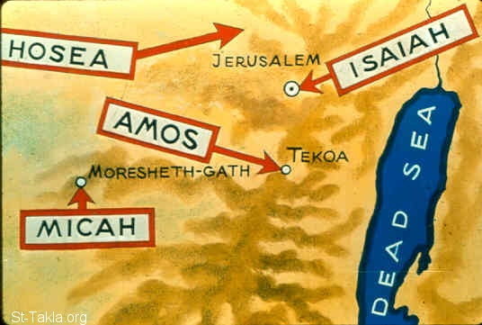 St-Takla.org Image: A map for the origin of some prophets: Hosea, Amos, Micah, Isaiah (Micah 1:1) ���� �� ���� ������ ����: ����� ����� ��������: ���ڡ ����ӡ ���ǡ ������ (���� 1: 1)