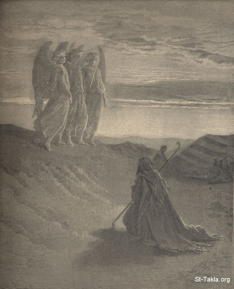 St-Takla.org         Image: Abraham entertains three strangers by Gustave Dore ����: ������� ������ ������� ������� ������ ������ ����