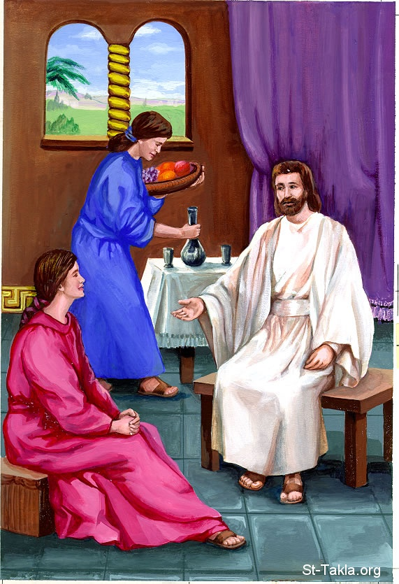 St-Takla.org Image: The Lord Jesus in the house of Mary and Martha ���� �� ���� ������ ����: ���� ���� �� ��� ���� �����