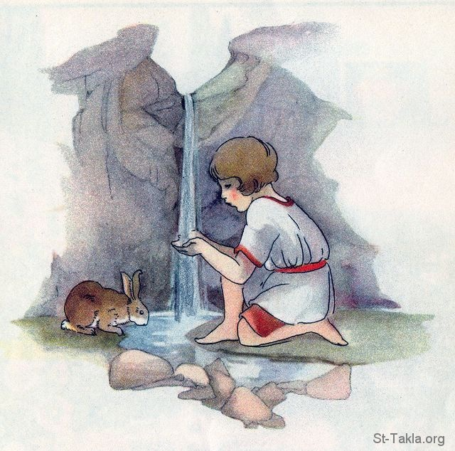 St-Takla.org Image: Girl and a rabbit getting a drink from a spring (Being thankful for water): Psalm 100:4 صورة في موقع الأنبا تكلا: فتاة مع أرنب يشربان من نبع مائي (الشكر على الماء) - مزمور 100: 4
