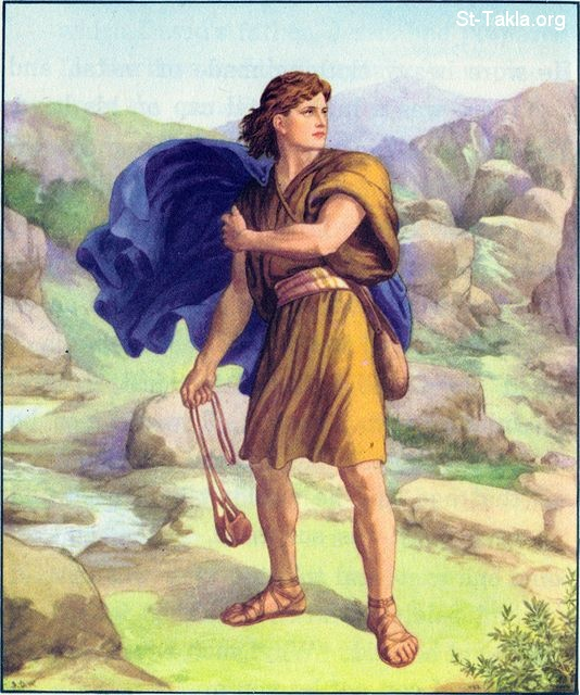 St-Takla.org Image: David faces Goliath with his sling and stones: I Samuel 17:42 ���� �� ���� ������ ����: ����� ���� ����� ����� ������ �������� ������: 1 ������ 17: 42
