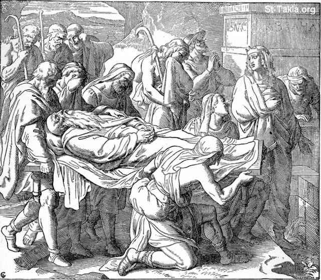 St-Takla.org Image: Jacob's burial after mummifying him: Genesis 50:13 ���� �� ���� ������ ����: ��� ����� ��� ������: ������� 50: 13