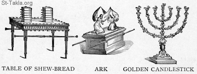 "St-Takla.org Image: Furnishings in the Tabernacle: Table of show-bread (Showbread), ark, golden candlestick (Lampstand) - from ""The Story of the Bible"". book by Charles Foster, Drawings by F.B. Schell and others, 1873 صورة في موقع الأنبا تكلا: الأثاث في خيمة الاجتماع: مائدة خبز الوجوه - تابوت العهد - الشمعدان الذهبي - من كتاب ""قصة الإنجيل""، إصدار تشارلز فوستر، رسم ف. ب. شيل وآخرون"
