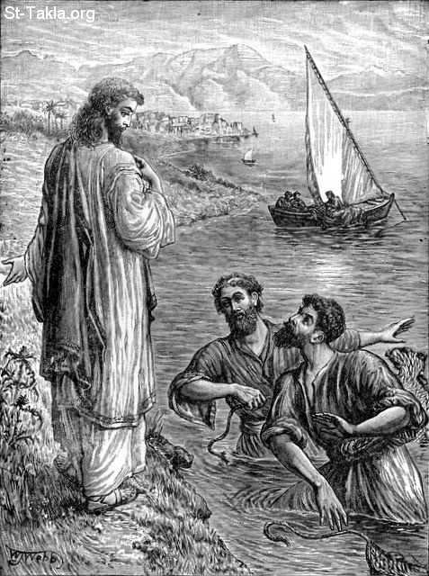 St-Takla.org Image: Come and I Will Make You Fishers of Men (Mat. 4: 19) - the Calling of the disciples Simon called Peter, and Andrew his brother the apostle صورة في موقع الأنبا تكلا: هلم ورائي فأجعلكما صيادي الناس (متى 4: 19) - دعوة التلاميذ بطرس سمعان و أندراوس الرسول أخيه