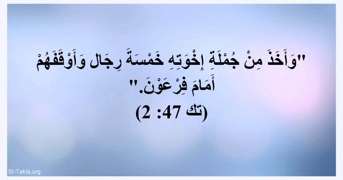 آية (تك 47: 2): وأخذ من جملة إخوته خمسة رجال وأوقفهم أمام ...