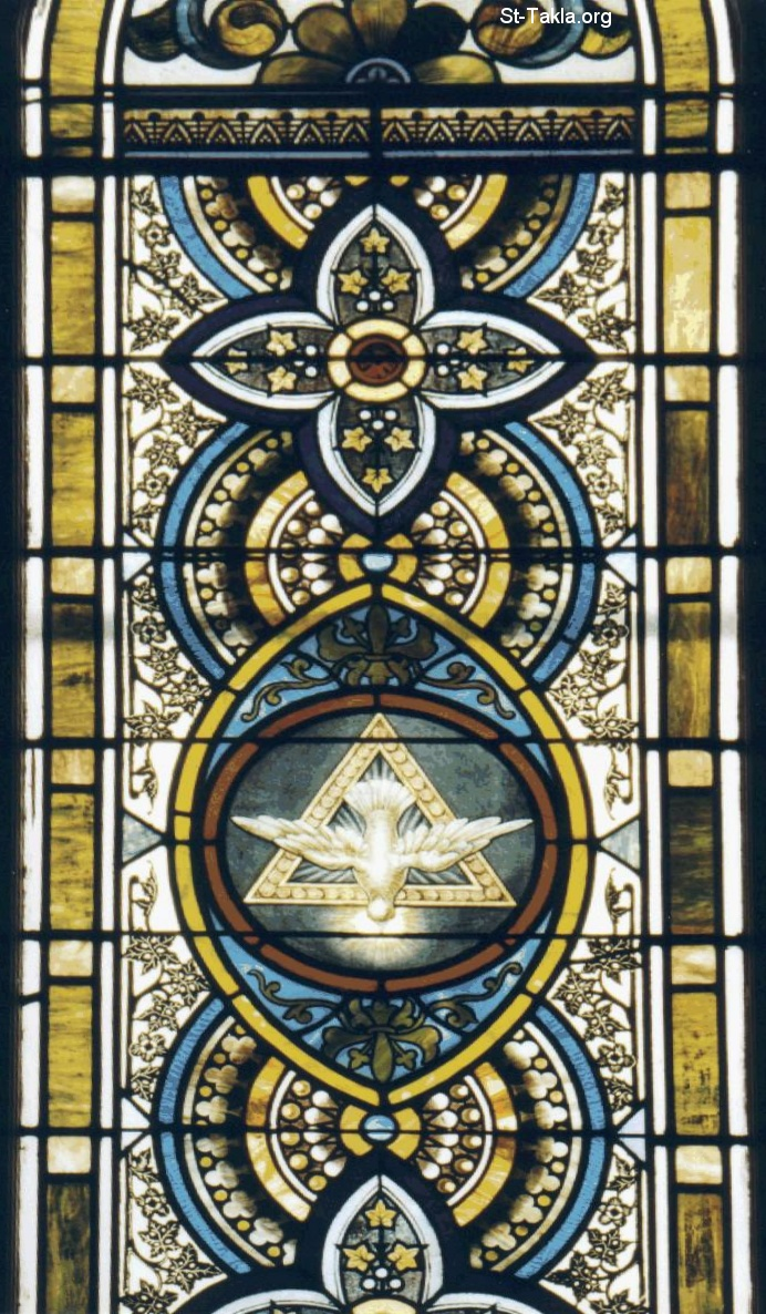 St-Takla.org         Image: The Holy Spirit, stained glass صورة: الروح القدس، زجاج معشق