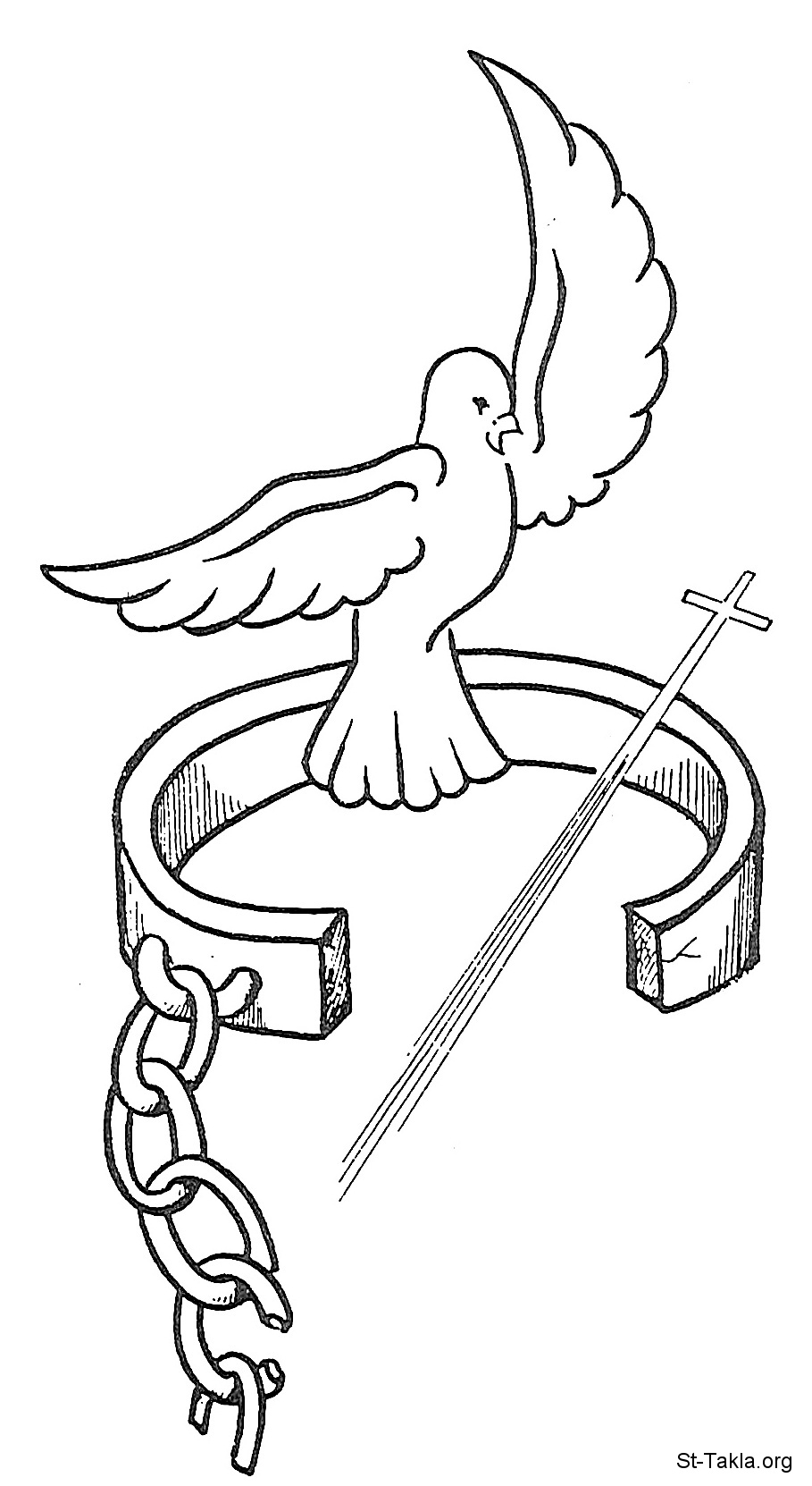 St-Takla.org Image: Free dove, freedom from shackles and cuffs through the Holy Cross ���� �� ���� ������ ����: ����� ��ɡ ������ �� ������ �� ���� ������