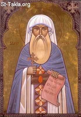 St-Takla.org Image: Saint Cyril the Great of Alexandria, Coptic pope, modern Coptic icon