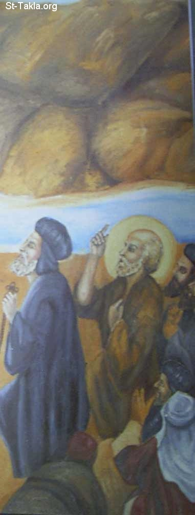 St-Takla.org Image: Saint Abram Ibn Zaraa the Coptic Pope #62 with St. Samaan El Kharraz (St, Simon the Tanner), details from a contemporary Coptic icon of the miracle of moving the Mokattam Mountain, Egypt ���� �� ���� ������ ����: ������ ������ ����� ��� ���� ������ ������ ��� 62 �� ������ ������ ����� ������ - ������ �� ������ ����� ����� ���� ����� ��� ��� ������ �� ���