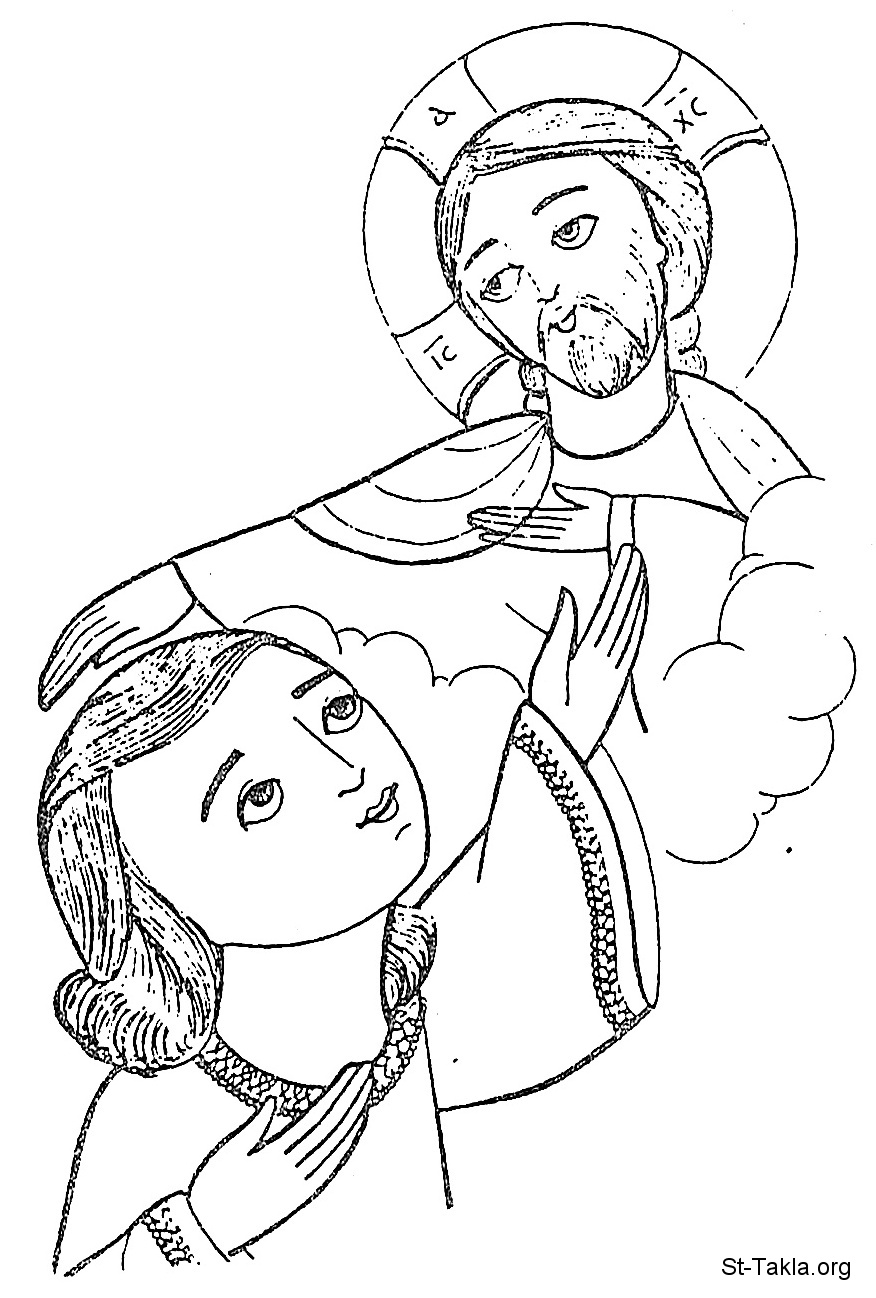 St-Takla.org Image: Jesus Christ blessing a girl, young woman - Coptic art ���� �� ���� ������ ����: ���� ���� ������ ����� ���ɡ ���ɡ ���� - �� ����