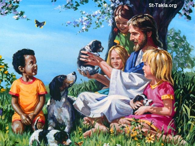 St-Takla.org Image: Jesus with small girls and a boy ���� �� ���� ������ ����: ����� ������ �� ���� ������ ����