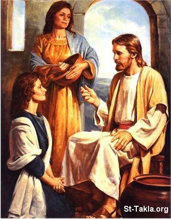 St-Takla.org Image: Jesus Christ, the one and only teacher - with Mary and Martha ���� �� ���� ������ ����: ����� �����͡ ������ ������ - �� ���� � ����