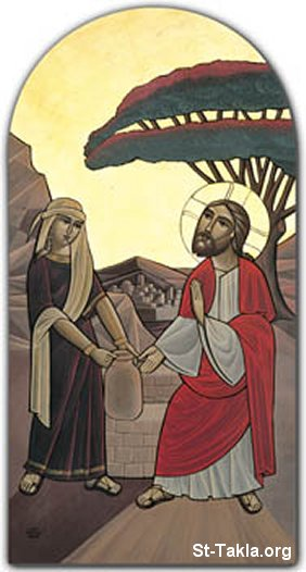St-Takla.org Image: The Samaritan Woman with Christ, modern Coptic icon ���� �� ���� ������ ����: ������ �������� �� �����͡ ������ ����� �����