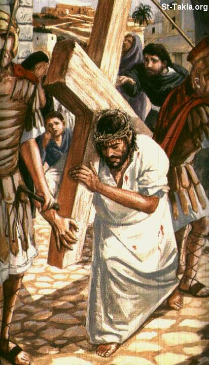 St-Takla.org Image: Jesus carrying the Cross, Road of pain ���� �� ���� ������ ����: ������ ���� �����ȡ ���� ������