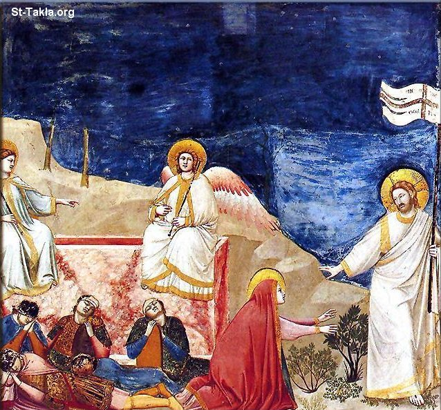St-Takla.org Image: Apparitions of Jesus after Easter, No. 37 Scenes from the Life of Christ: 21. Resurrection (Noli me tangere), by Giotto di Bondone, 1304-06, Fresco, 200 x 185 cm, Cappella Scrovegni (Arena Chapel), Padua, Italy ���� �� ���� ������ ����: ���� ����� ������ ��� �������: ���� ��� 37 �� ��� ���� ����� ������ (���� �� �������)� ������ ����� �� ������� 1304-6� ������ ����� (���� ����) ����� 200�185 �� �� ������ �������� (����� �����)� ����ǡ �������