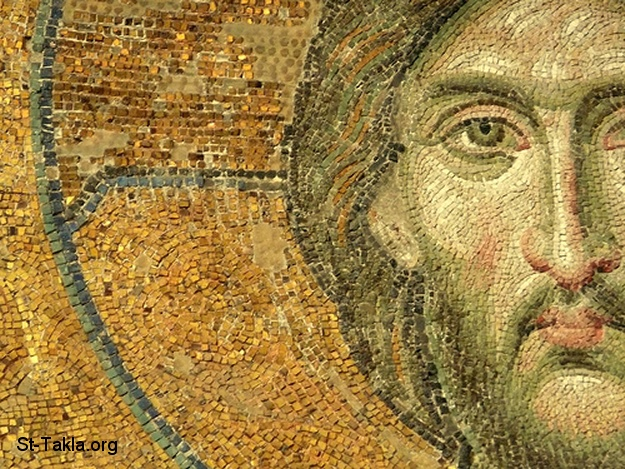 St-Takla.org         Image: Ancient Mosaic of the face of Jesus ����: ���� ������� ������� ����� ����� ������