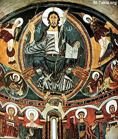 St-Takla.org Image: Ancient fresco of Jesus with Angels and Saints ���� �� ���� ������ ����: ���� ������ ����� ������ ��������� ���������