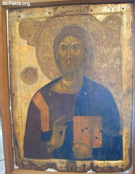 St-Takla.org Image: A very old icon of Jesus Christ the Pantocrator ���� �� ���� ������ ����: ���� ����� ����� ������ ���� ����