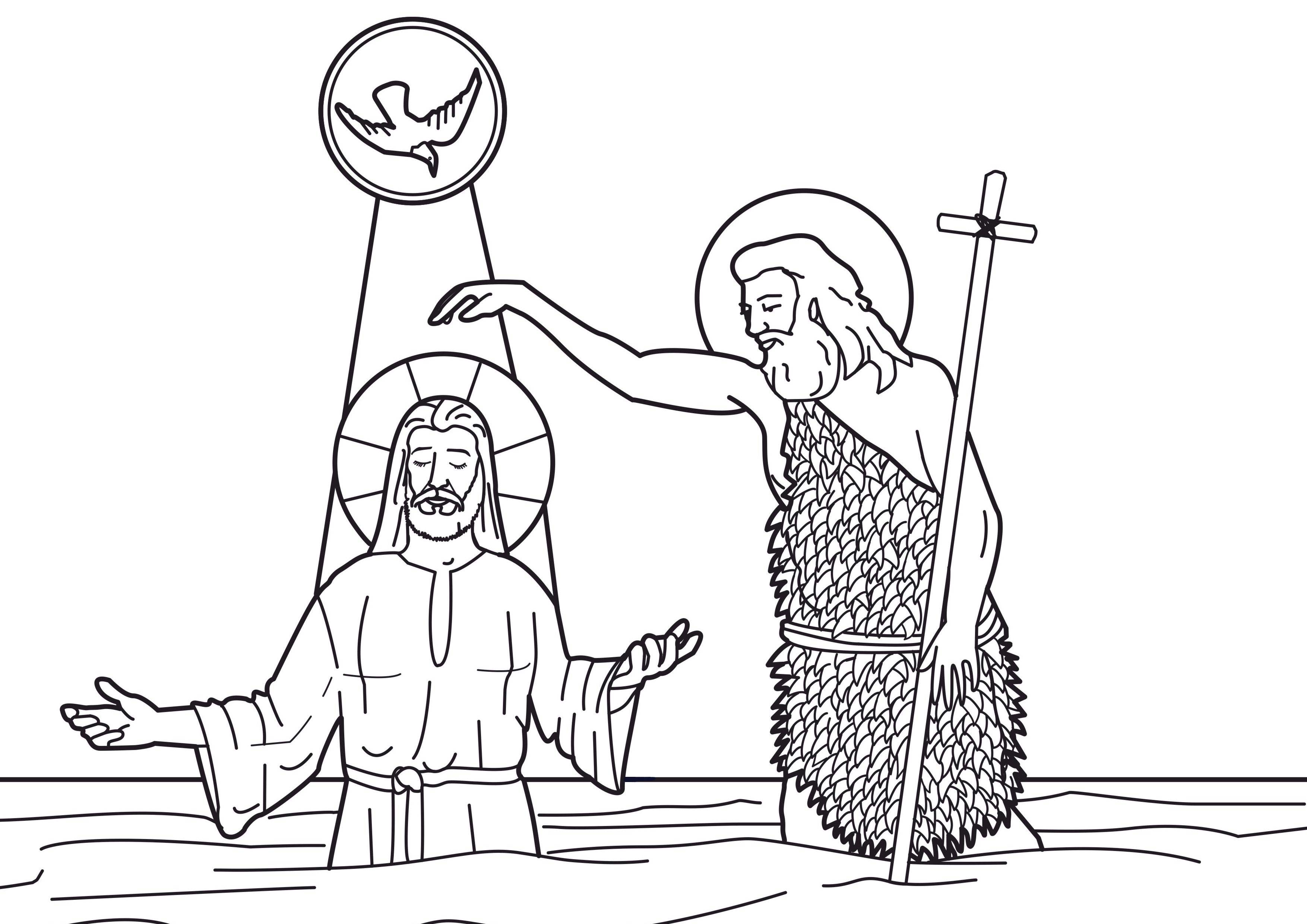 jesus being baptized coloring page - image coloring the baptism of jesus christ 01