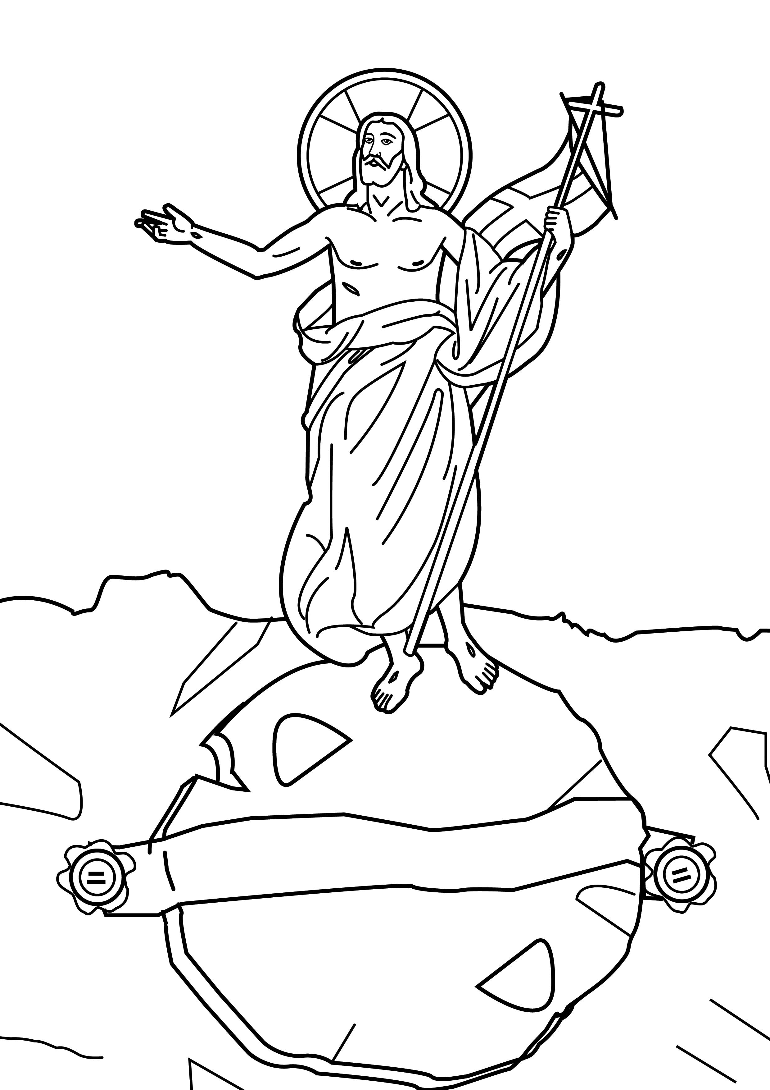 "St-Takla.org Image: Coloring picture of Resurrection of the Lord Jesus Christ from the dead on the third day - Courtesy of ""Encyclopedia of the Bible Coloring Images"" ���� �� ���� ������ ����: ���� ����� ������ ���� ���� ������ �� ��� ������� �� ����� ������ - ������ ����: ������ ��� ������ ������ �������"
