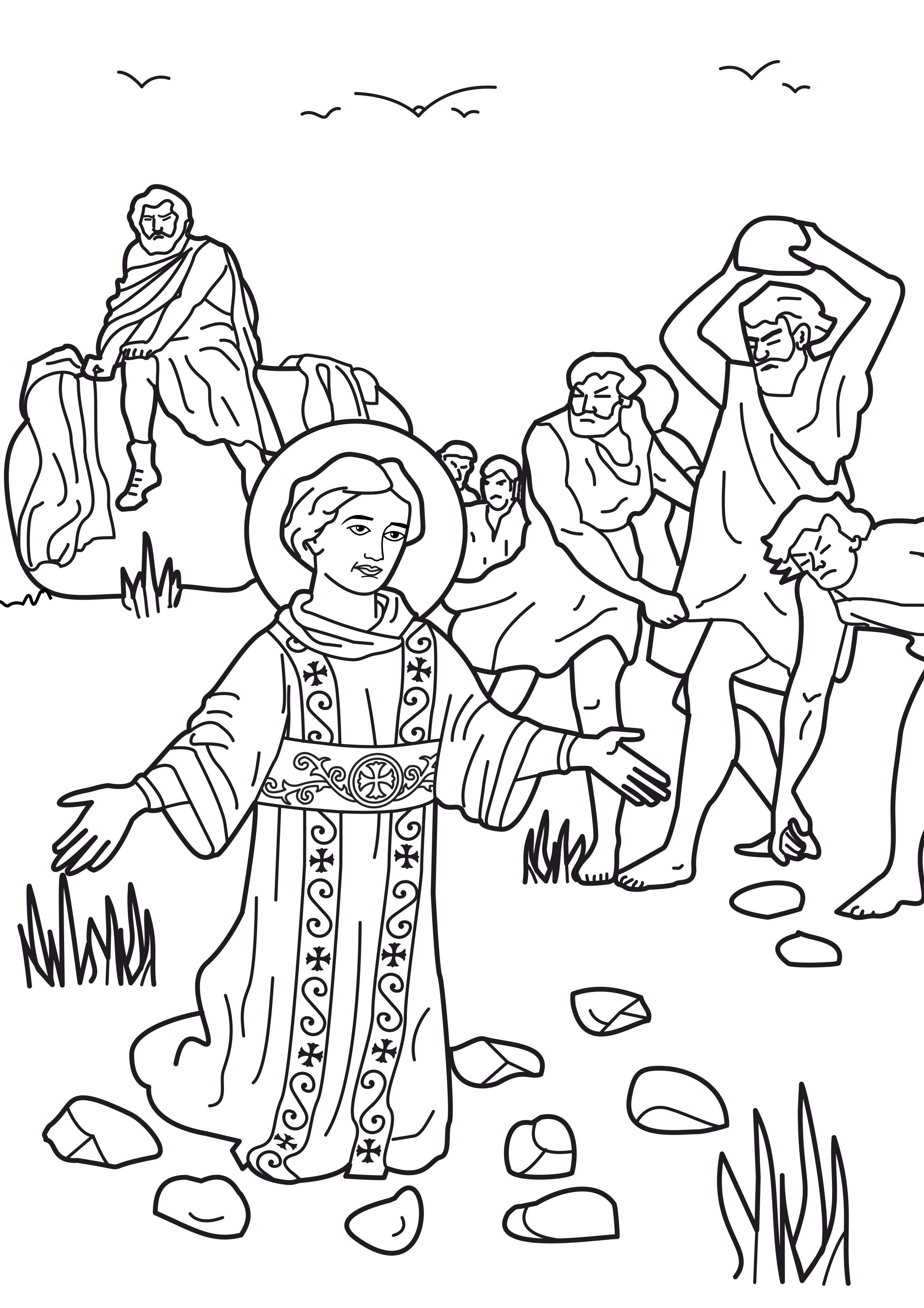 Stoning Of Stephen Free Colouring Pages
