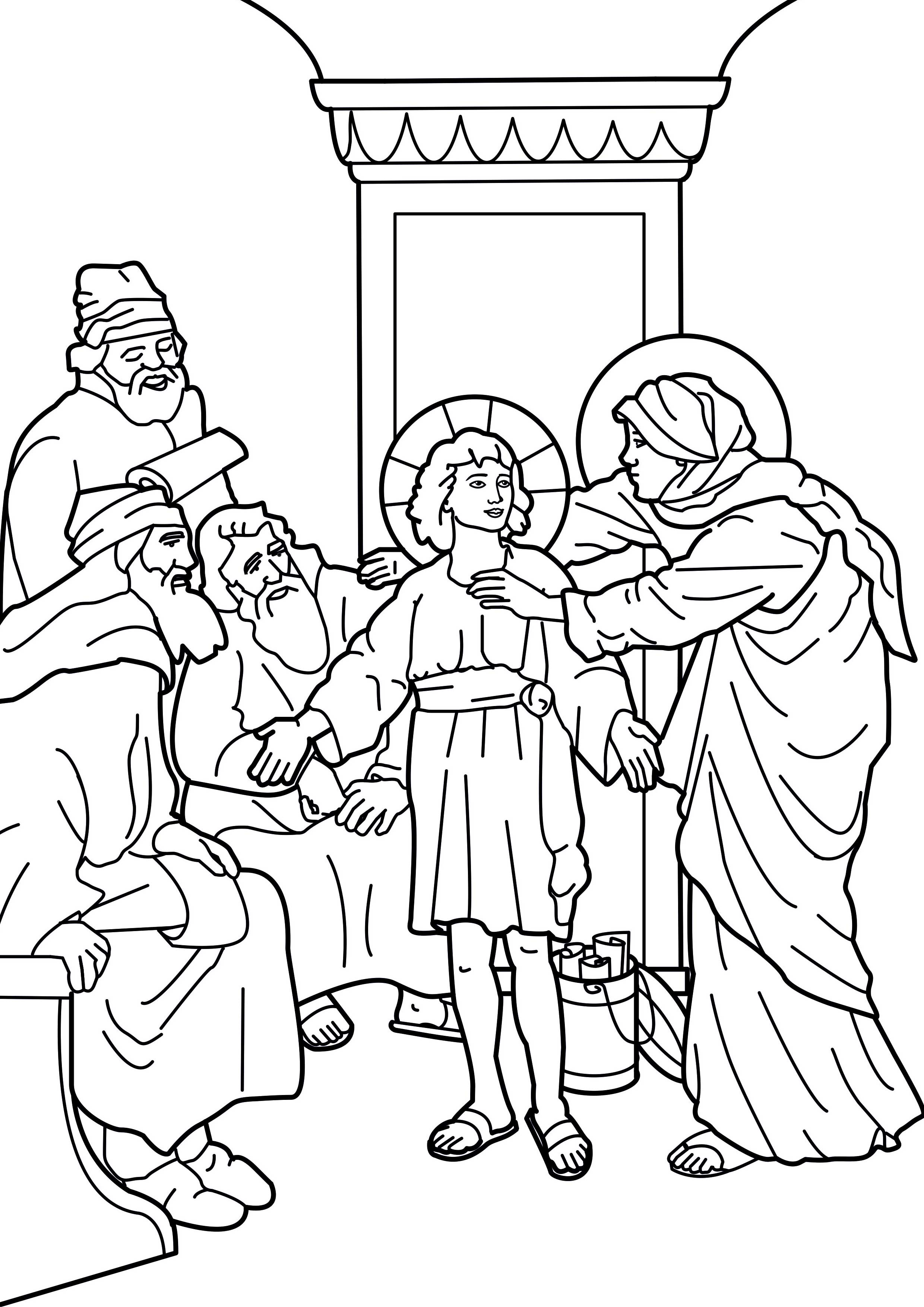 Image coloring the boy jesus in the temple for Jesus teaching in the temple coloring page