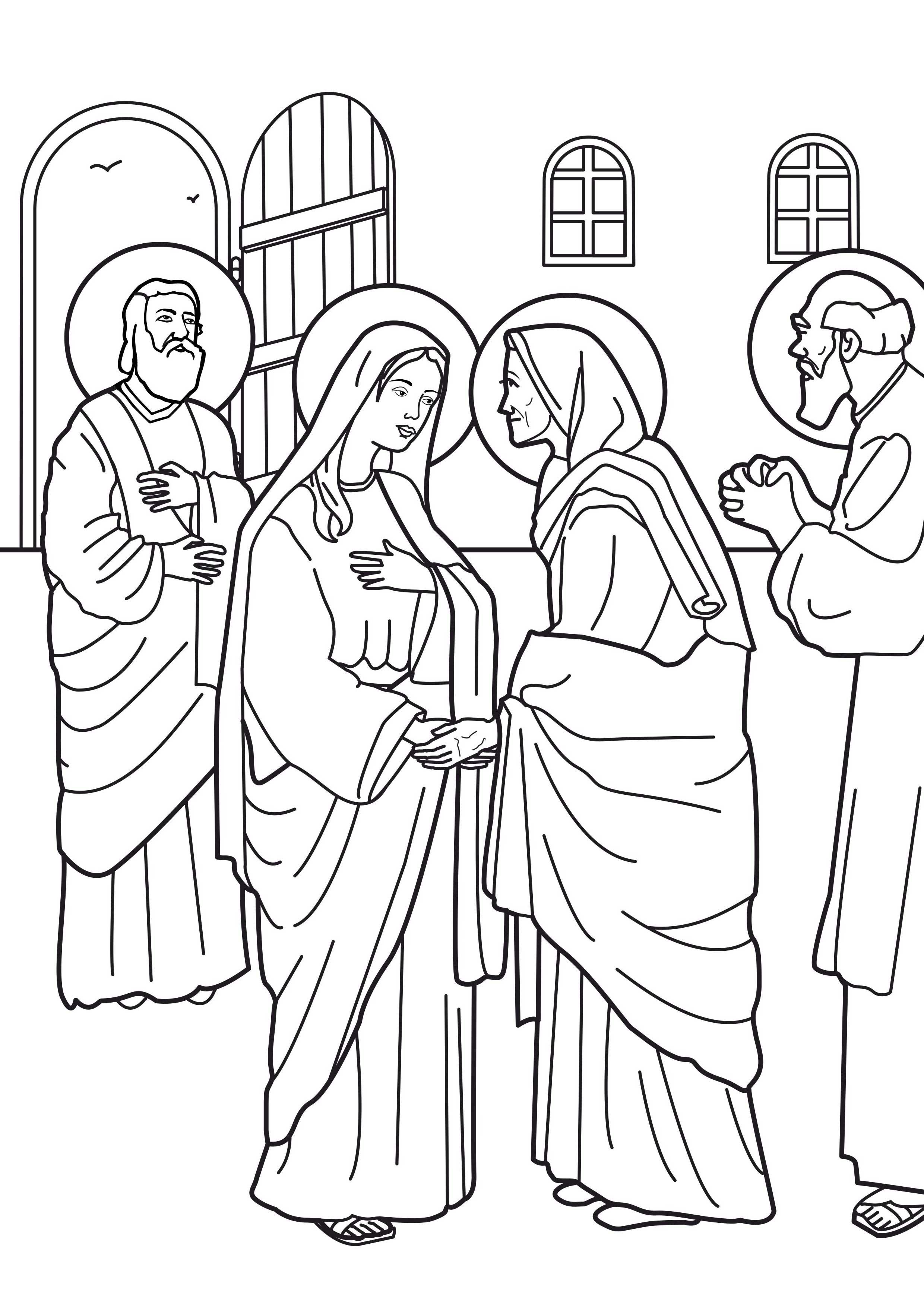 Image: Coloring Virgin Mary Visit to Elizabeth صورة تلوين