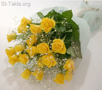St-Takla.org Image: Yellow Flowers and Roses, bouquet ���� �� ���� ������ ����: ���� ���� � ���� ����� �����