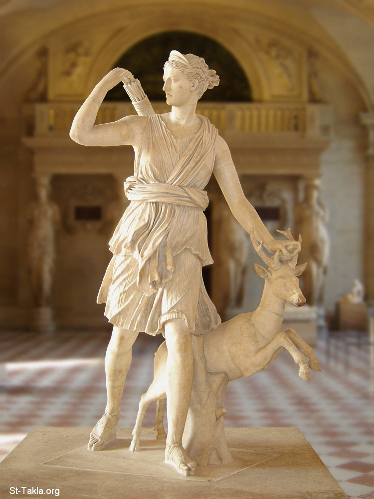 "St-Takla.org Image: Artemis with a hind, better known as ""Diana of Versailles"" - Goddess of the Hunt, Forests and Hills, the Moon. Marble, Roman artwork, Imperial Era (1st-2nd centuries CE). Found in Italy, Louvre Museum ���� �� ���� ������ ����: ������ ����� �� ���� (������� ������ ������� �� �������) ��� ���� ���� ����� - ���� ����� �������� ������� ������ - ����� ����� ����������� ����������� �� ��� ������� ����� ������� ��� �� ������� - ����� �� ���� ������"