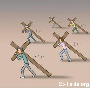 St-Takla.org Image: Carrying the Holy Cross, humbleness, being like Jesus ���� �� ���� ������ ����: ��� �����ȡ ������ڡ ������ �������