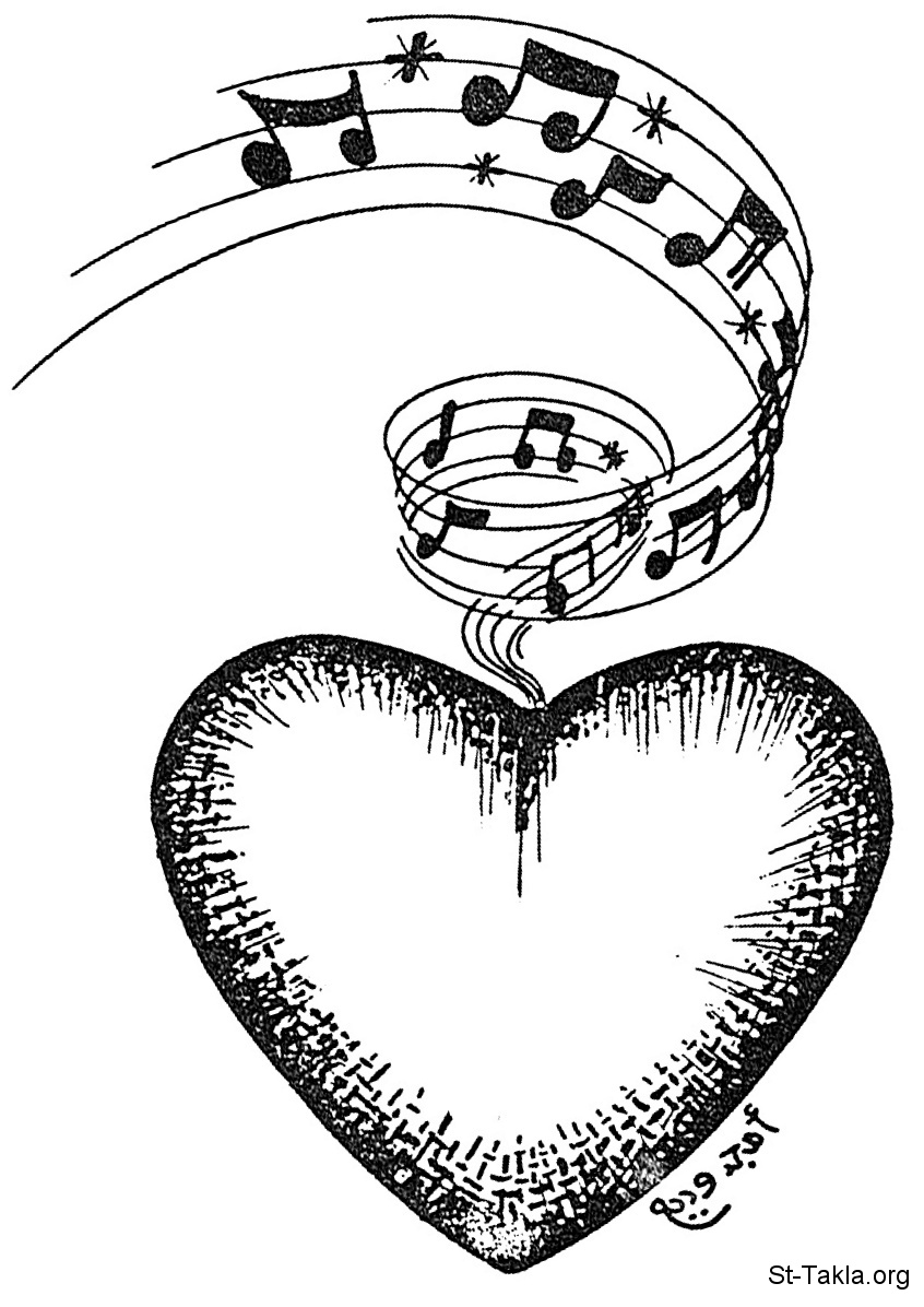 St-Takla.org Image: A heart with musical notes, by Amgad Wadea ���� �� ���� ������ ����: ��ȡ �� ��� ������ɡ ��� ���� ����