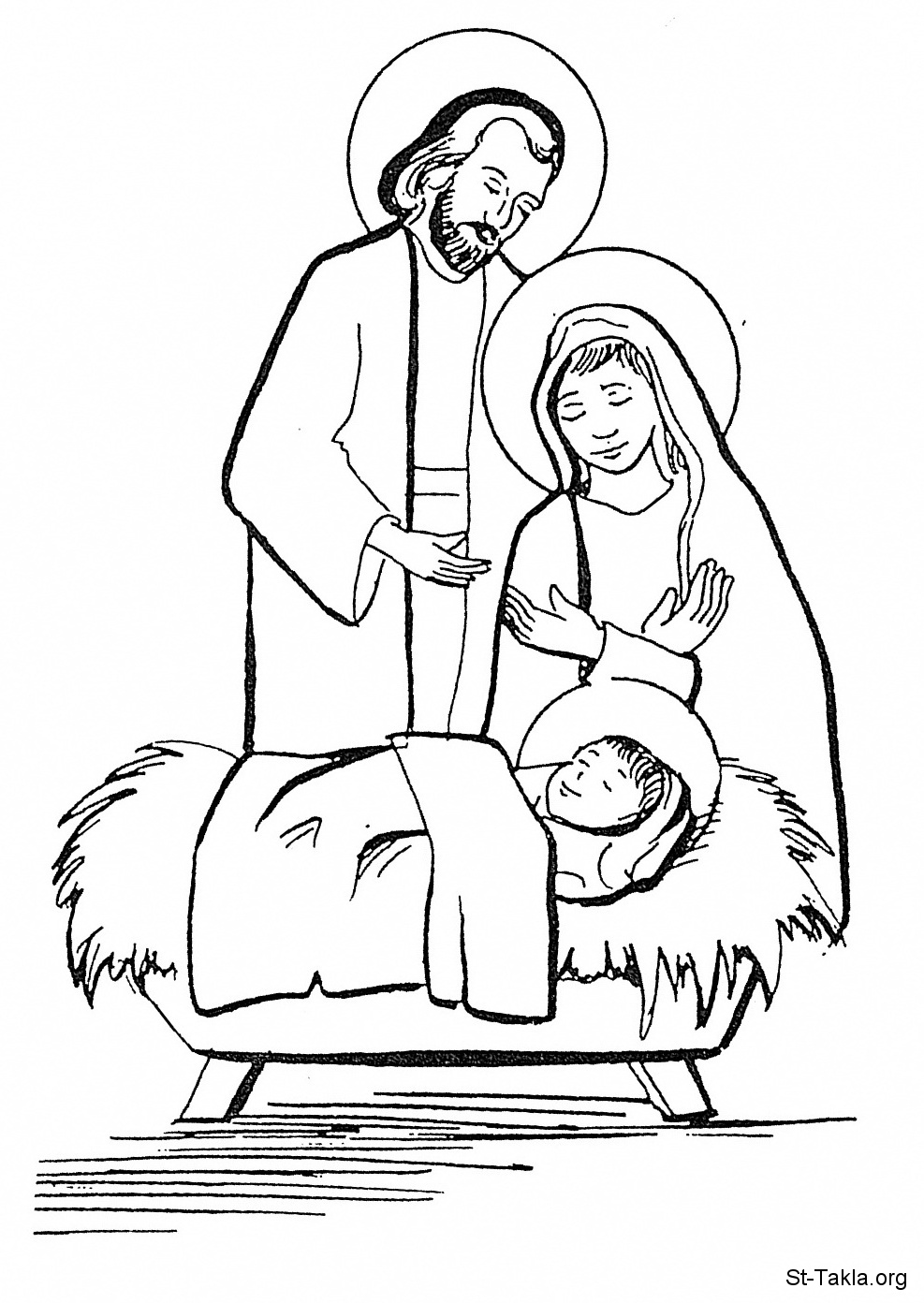 Free coloring pages baby jesus in a manger -  Baby Jesus Picture Image Jesus Coptic Manger 01