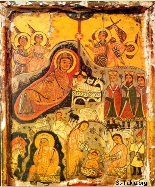 St-Takla.org         Image: Ancient Coptic icon showing the Nativity of Jesus Christ and other events ����: ������ ����� ����� ���� ����� ����� ������ ������ ����