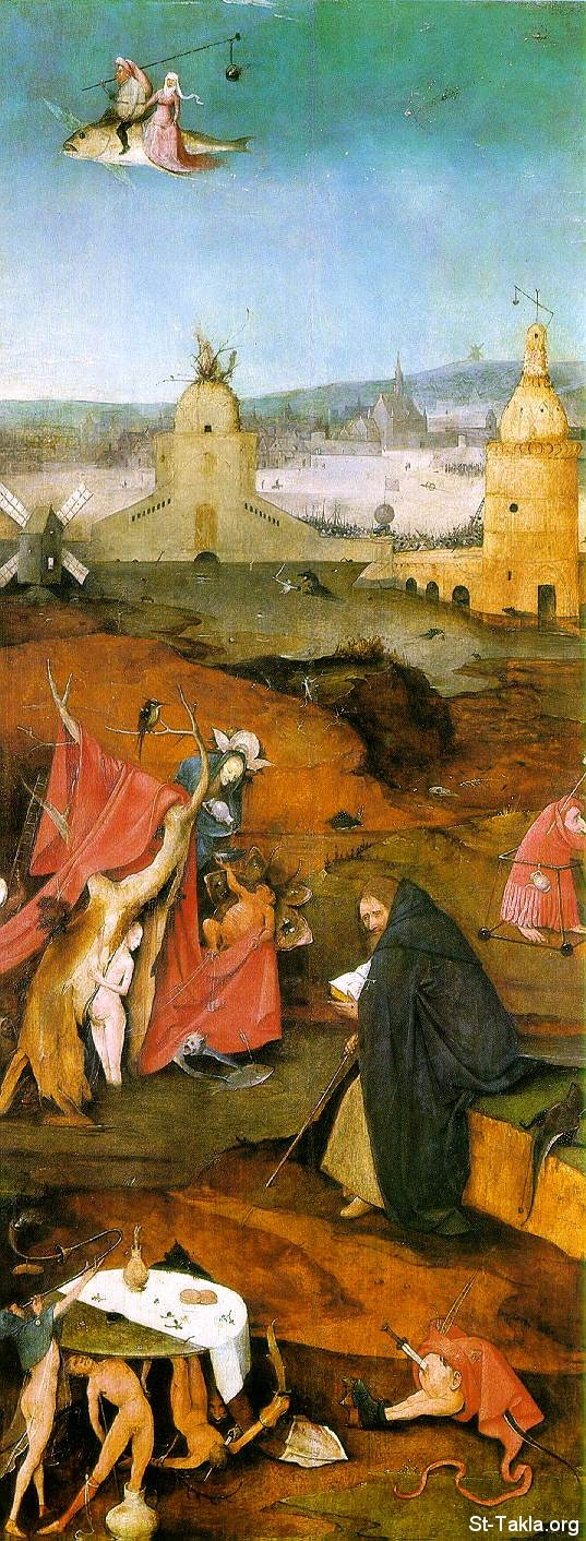 St-Takla.org Image: Temptation of Saint Anthony (De verzoeking van de H. Antonius) - Alternate title: Flight and Failure of St. Anthony (Right panel of a triptych depicting The Temptation of Saint Anthony.), by Hieronymus Bosch (ca. 1450�1516), Oil on panel, 131.5 � 53 cm (51.8 � 20.9 in), (� 1501 or later (1495-1515) - Museu Nacional de Arte Antiga (1st floor, room 61) (National Museum of Ancient Art), Lisbon. ���� �� ���� ������ ����: ���� ������� ������ �������� (�� ������� ������ ������ �������� (��� ����� ������ �� ��� ����� �� ��� �������)� ��� ������ ��������� ��� (1450-1516)� ��� ��� ���� ����� 131.5�53 �� ������ ����� ��� 1501 (�� ��� 1495-1515) - ������ ������ ������ ������ɡ ������.