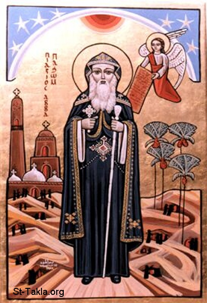 St-Takla.org Image: Modern Coptic icon of St. Pachom, Pachomius, Pachome, Pakhom of Egypt (Saint Bakhomious Ab El Shareka), founder of Christian cenobitic monasticism, painting by Dr. Bedour Latif and Dr. Youssef Nassief صورة في موقع الأنبا تكلا: أيقونة قبطية حديثة تصور القديس الأنبا باخوميوس أب الشركة - أنبا باخوم، رسم د. بدور لطيف، د. يوسف نصيف