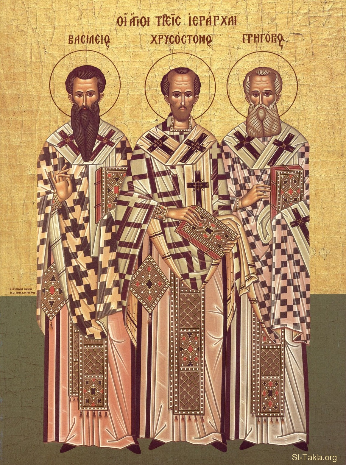 St-Takla.org Image: Icon of the Three Holy Hierarchs - Sts. Basil the Great, John Chrysostom and Gregory the Theologian (left to right) ���� �� ���� ������ ����: ������ ���� ������ ������: (�� ������ ��� ������) ������ �������� ������ - ������ ����� ���� ���� - ������ ��������� ��������