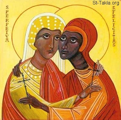 St-Takla.org Image: Saints Martyrs Perpetua and Felicity icon ���� �� ���� ������ ����: ������ ��������� ������ ��������