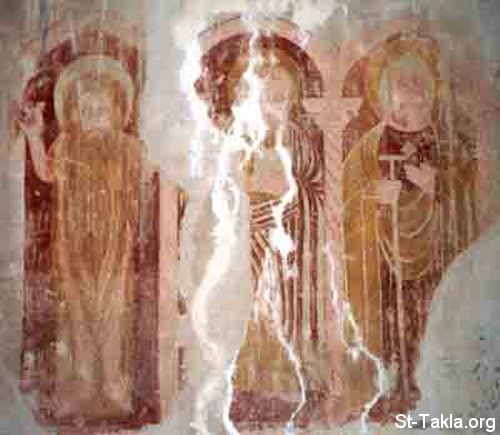 St-Takla.org Image: Right to left: Saint Samuel the Confessor, Saint Yoannes the priest of Sheheat, and Abba Noder - ancient Coptic fresco from St. Makarios Monastery, Egypt. From the paintings of St. Michael Church, at the ancient fortress of the monastery ���� �� ���� ������ ����: �� ������ ������: ������ ������ ������ ������ݡ ���� ���� ��� ����ʡ ���� ���� - ���� ������ ������ ����� �� ��� ������ ������ ���� ���� �� ��� - �� ������ �������� ������ ����� ������: ����� ������ ������� ������� ������