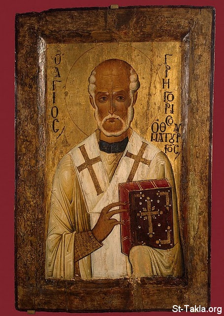 St-Takla.org Image: Saint Gregory Thaumaturgus (St. Gregory of Neocaesarea, Gregory the Wonderworker), (ca. 213 � ca. 270) - 14th century icon ���� �� ���� ������ ����: ������ ��������� ���������� (������ ���������� ���� ������ȡ ���������� ��������) 213-270 - ������ �� ����� ������ ���