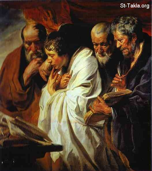 St-Takla.org         Image: Jacob Jordaens. The Four Evangelists. c. 1625. Oil on canvas. Louvre, Paris, France ����: ���� ������ ����� �������� ���� ���������� ������ɡ ��� 1625� ��� ��� ���ԡ �� ���� �����ѡ ����ӡ �����