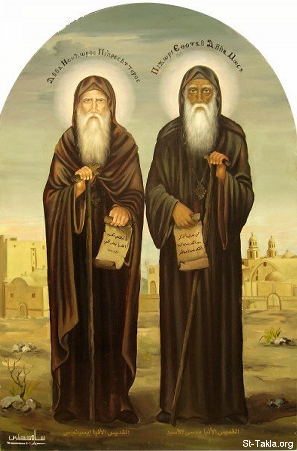 St-Takla.org Image: Modern Coptic art icon of Saint Moses the black and St. Isidore (Anba Mouse Al Aswad, Anpa Isithoros) - icon by Samy Hennes ���� �� ���� ������ ����: ������ ����� ����� ���� �������� ������ ���� ������ ������� ������ �������� - ��� ���� ���