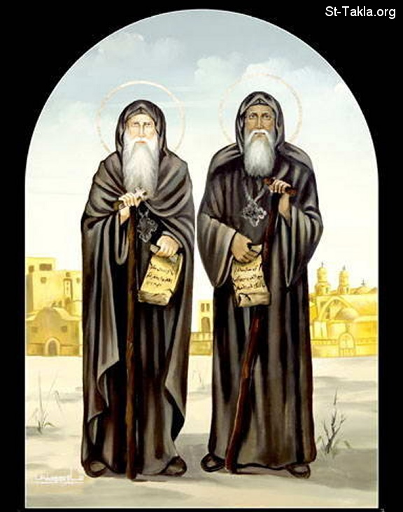 St-Takla.org Image: Saint Moses the Black (Mousa Al Aswad) and St. Isidore (Isithoros) the priest of the cells, modern Coptic icon by Samy Hennes صورة في موقع الأنبا تكلا: القديس الأنبا موسي الأسود والقديس الأنبا ايسيذوروس قس القلالى - أيقونة قبطية حديثة رسم سامي حنس