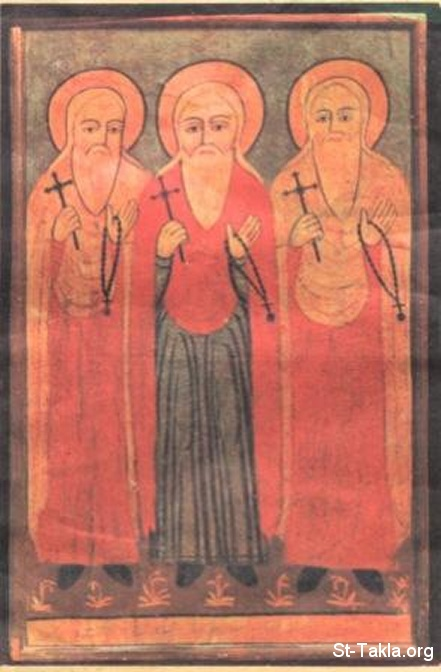 St-Takla.org Image: The three Macarius Saints, right to left: St. Makarios of Alexandria, St. Makarious the Bishop, and Saint Macarious the Great - modern Coptic art icon صورة في موقع الأنبا تكلا: الثلاثة مقارات القديسين: القديس مقاريوس الإسكندري، القديس مكاريوس الأسقف، القديس الأنبا مقار الكبير - أيقونة قبطية حديثة